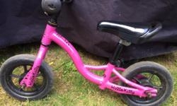 BIKE HAS BEEN CUSTOM PAINTED BY THE UNCLE (WHO WORKS AT AN AUTO BODY SHOP) WITH SOME HELLO KITTY DECALS. THE BIKE SELLS NEW FOR $100. HERE'S A LINK: http://westwoodcycle.ca/product/norco-eva-run-bike-boys-canada-217720-1.htm