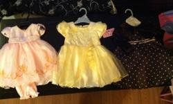 All three are size 12-18 months. I never got to wear them on my daughter as I buy too much clothing.  Were $26.00 and $29.97 plus tax. Asking $15.00 each or all three for only $35.00. That's less than $12.00 a dress! First two come with diaper covers, and
