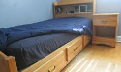 Single captains bed with 3 drawers, night table, desk and high boy 5 drawers (all drawers wood and slide very well) We are located in West-Island.