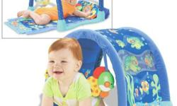 Fisher Price Ocean Wonders Kick & Crawl Playmat.   There are three stages for baby's development: - Overhead Gym - Tummy-Time Play - Crawl Through Aquarium   Instruction Manual included.