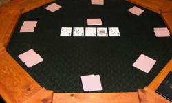 For Sale: Custom made octagon type poker/card table, in great condition. Included/Features: *Spill-proof professional speed cloth. Cards glide easily across table with little to no effort. *Folds up for easy storage *Seats 8 people *Dealer and Blind