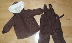 Puffer coat & high bib snowpants Chocolate brown / pink interior / hood super soft lining Ankle zippers to get get over boots Worn for one winter - excellent condition Smoke / Pet free home