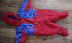 """Clean and in superb condition.  This girl's hooded snowsuit is size 18 months and the tag indicates """"height 32.5 inches and 26 pounds / 11.5 kg"""".    It has insulated snap-on hand and foot covers that are easily removable.  The front zipper extends most of"""