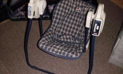 Take along travel swing has been re-enforced on the bottom for heavier babies, I bought it used like that, has 5 modes. Just needs batteries. Folds up for on the go. $30   Harley Davidson Diaperbag, used maybe once. The change pad has never been used,