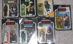 Star War Return of the Jedi Original Figures  Still Sealed On Original Cards Made By Kenner 1983-1984 65 and 77 Backs $200   Rancor Keeper - No.71350 - 77 Nikto - No.71190 - 65 Princess Leia - No.71220 - 77 Darth Vader - No.38230 - 77 Bib Fortuna -
