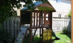 """Excellent Condition - Big Backyard Fairfield Model Outdoor Playset   1 Year Old High Quality Playset - fully assembled.   This """"Big Backyard"""" Fairfield Model Playset was purchased last summer for $699.00 from Lowe's. The playset is in excellent condition"""