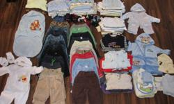 Over 100 pc of baby boy clothes from 0-6-9, some sleepers even over 1 y.  Excellent cond. in a no pet no smoke house. Onesies, sleepers, shirts, pants, hoodies, socks, bibs, top and bottom sets,ect.