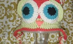 Custom made owl hat's. can make any size, and any colour. also can do flower hat's, skull hat's. just let me know what your looking for thanks for reading