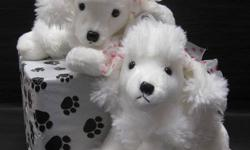 """12"""" PEARL is a white poodle with pink and white polka ear ribbons-super soft and cuddly - part of the Flopsie domestic stuffed dog and cat collection. Aurora only uses lock washer or embroidered eyes and nose for safety. This lovely lady is currently sold"""