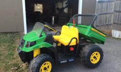 2 year old Peg John Deer Gator. Battery operated. Great condition. Come with Gator, battery an charger.