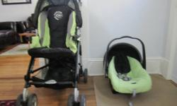 The stroller and seat have been used by one child for about 7 months, and are therefore in very good condition. Clean and from a smoke free home. Lime green in colour for either boys or girls. Stroller folds with a 5 point harness, and rear footboard for