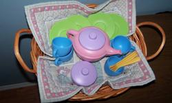 PERFECT PLAY TEA SET . Made by: GREENS TOYS. . A Little Girl's DREAM COME TRUE! . 17 Adorable pieces made from  Recycled Milk Containers. . NO BPA, PHTALATES or LEAD PAINT! . 4 STAR RATING out of 5! . Purchased on line @ Chapter's Indigo . EXCELLENT