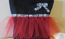 """Handmade """"tutu totes"""" are perfect for that little dancing princess. There are choice of three bag options: 1) Premade bag in either white or black, no lining, with tulle and ribbon of your choice, and your child's name embroidered on the front (see black"""