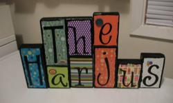 *new style* Provide me with your own personal photos and they can be used as the backdrop for your word or family name. These wooden blocks are hand-made with lots of love & care starting from the sanding & painting right down to the last button, ribbon