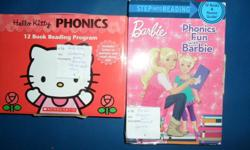 Hello Kitty Phonics, 12 reading books with CD to read along and Phonics Fun with Barbie, 12 books and parent guide. Selling together