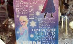 WALL PICTURE FOR GIRLS FROZEN CHARECTOR VERY POPULAR NEW STILL IN PACKAGE HAD ONE ALREADY THE OTHER ONE I S OF THE SAME THEME THIS ONE IS 10.00