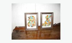 "2 6"" x 8"" framed hand-embroidered pictures for a baby's room - elephant and teddy bear."