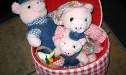 In good condition, clean from non smoking home.  Includes Mommy, Daddy and kid pig and littl fruit and veggie basket.  Zip them up in  the checkered picnic basket.   Please call 996-0967 or e-mail if intersted. SEE MY OTHER ADS