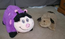 "Like new pillow pets - only $10 for both. Kids have outgrown them. The lady bug is ""regular size"" and the dog is ""pee-wee"" size. From a smoke free, pet free home. The pillows are washed and clean. If you buy both pillows, I'll throw in a Minnie Mouse and"