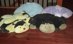 Large size pillow pets. Excellent condition from smoke free and pet free home. Pillows can lay flat or you can velcro the sides to make them stand up. Bumble bee, Monkey $10 each, firm on price. Originally bought for $30 brand new.