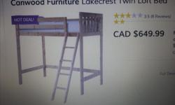 Solid pine child's loft bed with ladder. Safety rail included. Makes best use of limited space as dressers, bookshelves or desks fit under the bed. Normal wear, a good solid bed.Mattress not included. Now dismantled for easy collection or delivery.