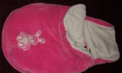 Pink Car Seat Warm Cover Keeps baby warm without using snowsuits. Goes under and over the baby. Has slits for straps to use in carseat. Zips in two pieces.   Excellent used condition.
