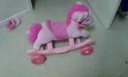 looking to get rid of my daughters pink rocking horse  she doesn't use it any more just taking up space.  if you press his ear he also makes noises. pick up only thanks