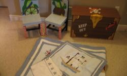 This little bedding set with matching chairs and treasure chest toy box is perfect for your little pirate. Used for only a few months before my boys decided to share a room, this set is from a clean, smoke- and pet-free home. Purchased from Home Sense for