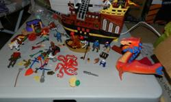 This wonderful collection will have any little boy playing for hours. There are many pieces. A little boat for an exscape, dragon that it's wings move, an octopose, many pirates, even one with a parrrot. Even a horse and a carriage. All pieces including