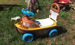 Ride on private ship buttons don't work but hours of imagination & fun! The seat pops open for little ones storage. Westshore pu Text 250/882/4293 clearing out back yard