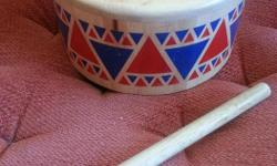 Great used condition - makes a really nice tympani-like sound, not too loud or annoying when hit repeatedly. :) Drumstick has a rubber head and hitting different areas of the surface will produce different sounds.