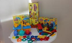 Play-Doh - 24 Pack of Colours Fun Factory * Large extruder with 10 shape options * 4 individual extruders, each with a unique shape * Roller & rolling pins * Plastic cutting knives Pooh 'n Friends Picnic * Picnic basket - includes moulds for picnic foods