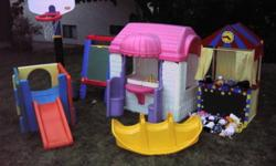 Play house with dishes $75.00 Little climber $10.00 Basketball hoop, adjustable $20.00 Puppet theatre and puppets $40.00 Chalkboard $10.00 Teeter toter $5.00 Everything in good condition & obo