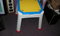 For sale this Play Table with storage For Lego Duplo or Mega Bloks ( medium size ) It measure 18.5 x 18.5 and High 22 inches. Price $ 20