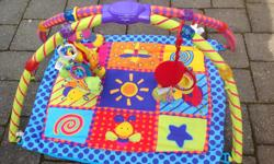 Great activity for babies during awake time, learning to sit up and hear sounds and look at blinking lights. Batteries included. From a non smoking, pet free home.