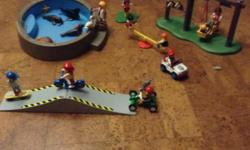 Playmobil Aquarium with seals, turtles ect. Skateboard ramp with skateboard, scooter and more! Playground with swing, teeter totter and more! as pictured, all in great condition