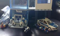 Police Station Car 2 Motor cycles Bunch of guys lots of accessories. $35 OBO Lots of play left in this set. My children are saving up for a special purchase and are funding it by selling some of their belongings.