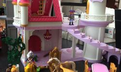 Beautiful castle with princesses and princes. Please note that the flying horse is missing one wing
