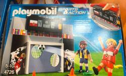Soccer set Good condition This set includes: 2 players, interactive gaol, cones, soccer ball All parts included