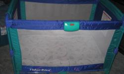 Fisher Price Playpen with bassinet attachment & soothing vibration feature. Comes with extra padding & fitted mattress cover.