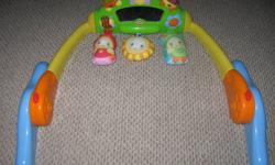 Still in really good condition, may need batteries eventually. Great for babies that haven't started walking yet. Can be set up two different ways for baby comfort (Tummy or Back). Email if interested:)