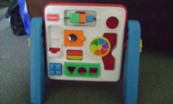 "Toddler activity center. ""Playskool"" brand.Removable side legs for storage. * NOTE: Does not have any 'shapes' (missing)*"