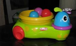 """The CHASE ME CRITTER toy """"grows"""" with your little one, inspiring her with the joy of discovery. Baby?s sure to squeal with delight when the colorful balls twirl, swirl and pop out and about. When baby?s older, she can chase after the balls as the critter"""