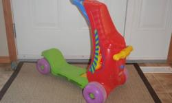 Turns from a ride-on to a scooter. Max weight is 60lb. Sells for $39.95 at Toys R Us. Great shape. Great toy to ride as a toddler and then learn to use as a scooter later on.