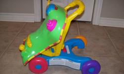 this walker converts to a little ride-on car for a toddler to use. used and missing the sticker off the front of the car but still in very good shape. asking $10 ****located in Wheatley****