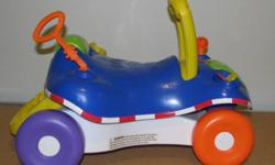 Excellent condition playskool walker/ride, change from a walker to a little car asking $10.   http://www.toysrus.ca/product/index.jsp?productId=3744496   http://www.walmart.com/ip/Playskool-Step-Start-Walk-n-Ride/882533?findingMethod=rr   Clean smoke and