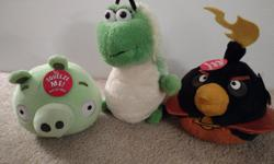 2 Angry Bird Plush Make Sounds Most have Tags Great Condition -Stored on Shelf Smoke and Pet Free Home