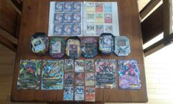 It comes with 3 full tins of cards , 4 giants cards , 9 EX cards , the 2 dragons ( Reshiram and Zekrom ) and 1 binder of cards.