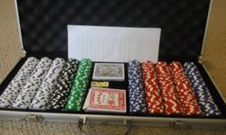 Deluxe poker set in a metal locking case