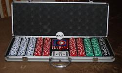 This is a top quality 500 piece poker set. Used once, excellent condition.